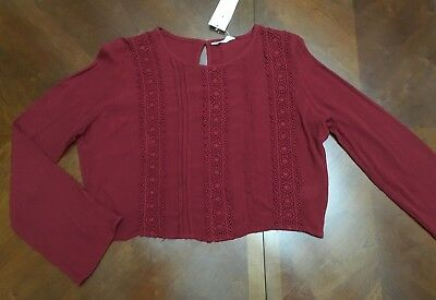 Candy Couture Girls Long Sleeved Crop Top  Age 15 Years  Bnwt