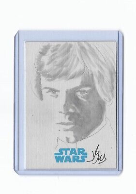 2015 TOPPS STAR WARS JOURNEY TO THE FORCE SKETCH Luke Skywalker Drawn by Gus