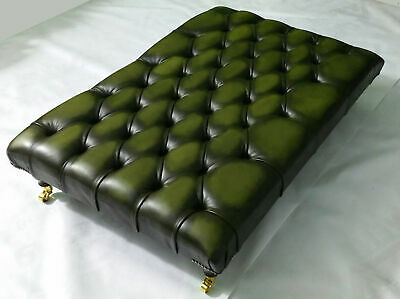 Extra Large Chesterfield Ottoman Table 100% Antique Green Leather with castors
