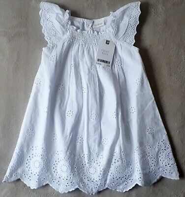 BNWT Next Baby Girls 12-18 Months White Broderie Anglaise Dress