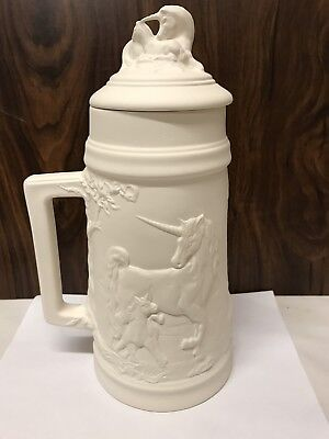 "Large Unicorn Stein 12"" Tall Ceramic Bisque Ready To Paint"