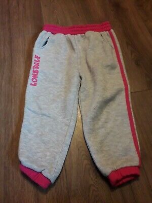 girls pink and grey tracksuit bottoms age 3-4 years from lonsdale