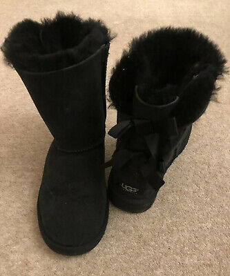Genuine Authentic Girls Black Ugg Boots - Bailey Bow - Bows Size UK 2 Worn Twice