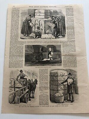 1878 Leslie's Antique Print Scenes Of Cotton Thieves In New York City #1719