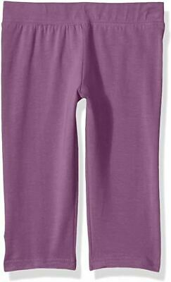 Clementine Apparel Big Young Girls Capri Leggings for Yoga Workout Purple 16