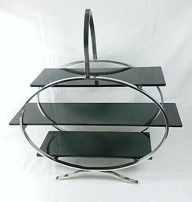Art Deco Odeon Style Chrome & Black Perspex Stepped Display Stand / Cake Stand