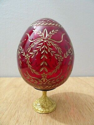 Vintage /Antique Russian Style Egg Ruby Red Cut Crystal Glass Finial Newel Post