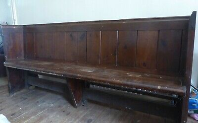 Antique Victorian Church Pew Dining Hall Seat Conservatory Bench Original Cond