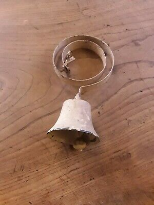 Antique Brass Shop Door Bell On Iron Spring - Old Paint