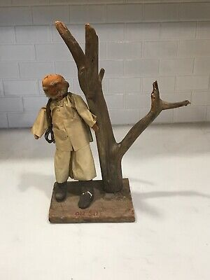 "Old Vintage Antique Primitive ""Old Salt"" Fisherman Doll with Wooden Carving 13"""