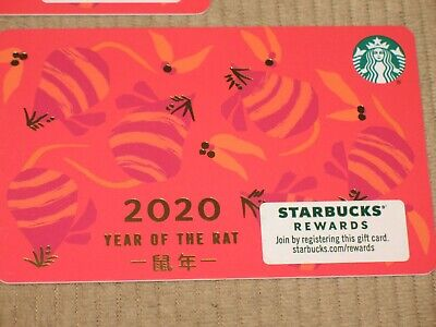 4x Starbucks Gift Card 2020 -  YEAR OF THE RAT - BRAND NEW - NO VALUE - LOT