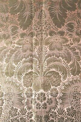 "Antique French 18th Gold Metallic & Peach Silk Exotic Fabric Panel c1750~34""X19"""