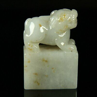Chinese Exquisite Hand-carved animal Carving jadeite jade statue
