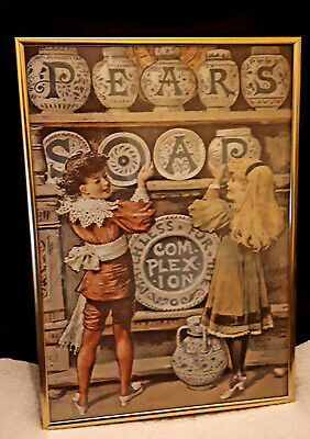 PEARS SOAP  VINTAGE COLLECTABLE  SOLID METAL FRAMED PRINT 40 x 28cm EXC COND.