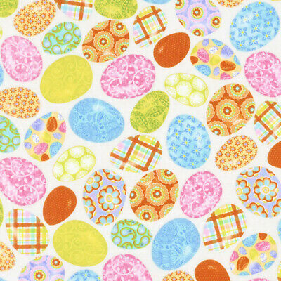 Carrot Patch Decorated Easter Eggs on Tan Cotton Fabric by the Yard