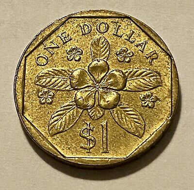 1988 Singapore One 1 Dollar Periwinkle Flower Coin XF