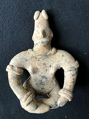 Pre-Columbian Colima Seated Figure 100 BC - 250 AD, solid clay.  NICE!