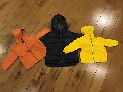Bundle Of Baby Gap Toddler Down Puffer Jacket 18-24m And 2 Polo Hoodies 18m