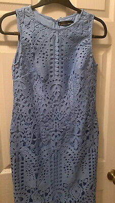 Chetta B New With Tag Ivory Blue Summer Cotton Dress Sleeveless size 4 6 8