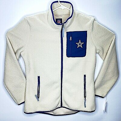 Dallas Cowboys NFL Fleece Hoodie Zip up Mens Large NWT Ivory Cream White W/ Blue