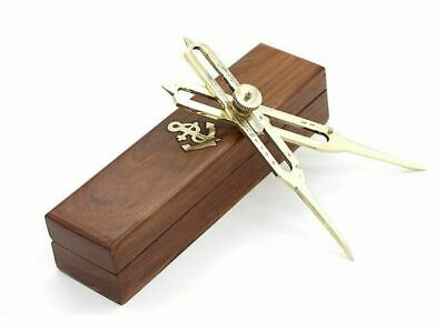 """Proportional Scale Divider Drawing Tool Professional 6""""Long Full Brass/Wood Case"""
