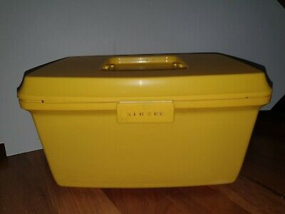 VINTAGE Yellow Singer SEWING ACCESSORY CARRY CASE Craft Box TOP TRAY Insert VGC