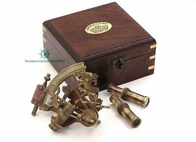 Brass Sextant with Two Extra Sighting Telescope/Astrolable Sextant w/ Wooden Box