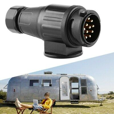 Black 12V 13 Pin Electric Trailer Plug Plastic 13 Pole Wiring Connector Adapter