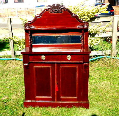"""VICTORIAN. """"Chiffonier"""" with Mirror and Cupboard, Sideboard, Mahogany. c1880"""