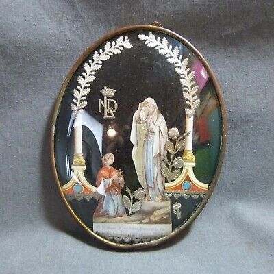 French Antique Holy Curved Glass Frame Lourdes St Bernadette Virgin Mary 19th c.