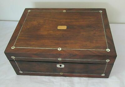 A Good 19th Century Wooden Mahogany Jewellery Box with MOP Inlay