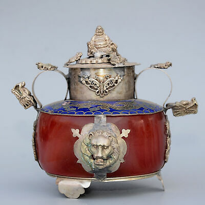 Collect Antique Miao Silver Cloisonne Armour Agate Carve Dragon Incense Burner