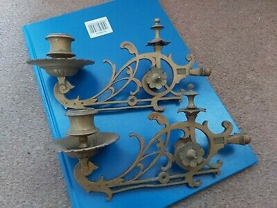 Vintage brass piano or picture candle holders Pair