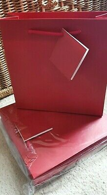 """6 x Red Card Party Gift Present Bags 9"""" x  9"""" Birthday Xmas Etc"""