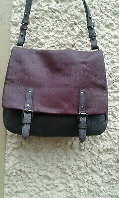 "CLARKS Faux Leather Dark Grey & Plum SHOULDER HANDBAG L  14"" × 11.5 "" vgc"