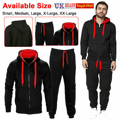 Mens Tracksuit Set Fleece Hoodie Top & Bottoms Joggers Gym Contrast Jogging Size