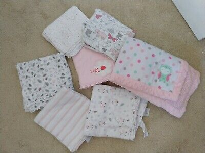 Lot of 7 Baby Girl Blankets Swaddle Aden & Anais Muslin 100% Cotton & Carters