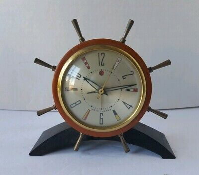 Vintage 1951 Seth Thomas Rudder Ships Wheel Electric Alarm Clock