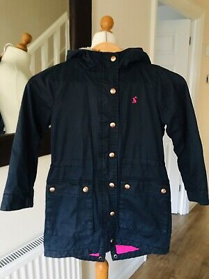 Joules Navy Wax Girls Coat Age 7-8 Years