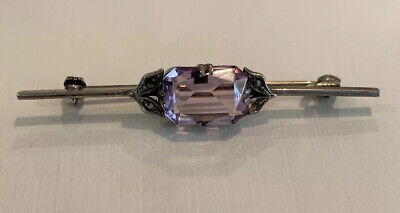 Vtg Faceted Amethyst Brooch Pin European Art Deco Sterling Silver Antique