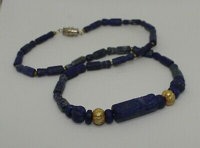 Ancient Lapis Seal & Gold Bead Necklace - 783