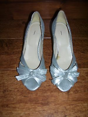 Ladies shoes size 4 silver / silvery peep toe stiletto bow sparkle XMAS PARTY ?