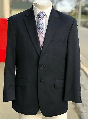 Mens JOS A BANK Tailored Fit Navy Blue Wool 2 Button Suit Jacket Blazer 40 S