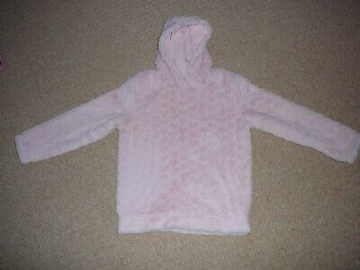 Nutmeg Girls Fluffy Lined Hooded Top with Heart Motif - Pink - Age 8-9 Years