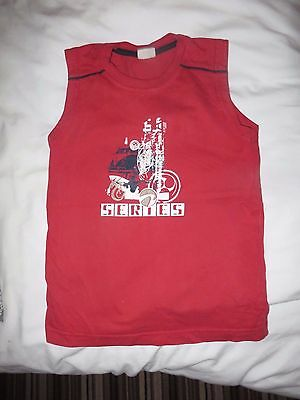 boys boy vest top no sleeves summer t-shirt age 6-7 years red