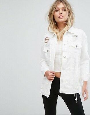 Asos River island pearl embellished white denim jacket Size Medium Uk 12-14 BNWT