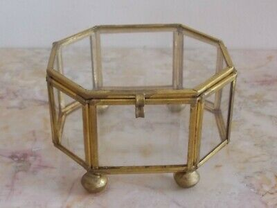 Vtg Brass and Glass Jewelry Trinket Box Curio Keepsake OCTOGON Display Case