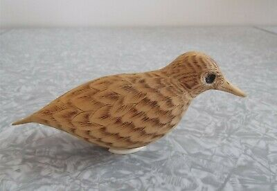 Vintage Art Wooden Bird Hand Carved Pyrography Wood Feathers Figure Sculpture