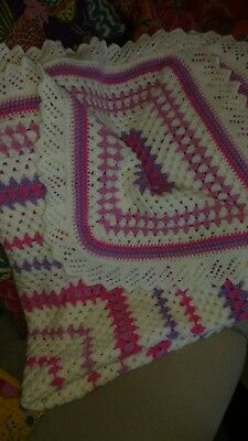 Vintage Style Large Hand Crochet Granny Blanket Cover Throw.baby Cover.  New