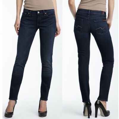 7 FOR ALL MANKIND 'Roxanne' Skinny Jeans Size 27 Dark Wash  Cotton Spandex Blend